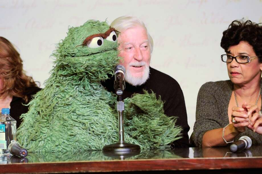 "Puppeteers Caroll Spinney with ""Sesame Street"" puppet Oscar the Grouch, and Sonia Manzano attend Sesame Street: A Celebration of 40 Years of Life on the Street at Barnes & Noble, Lincoln Triangle on November 12, 2009 in New York City. Photo: Gary Gershoff, WireImage"