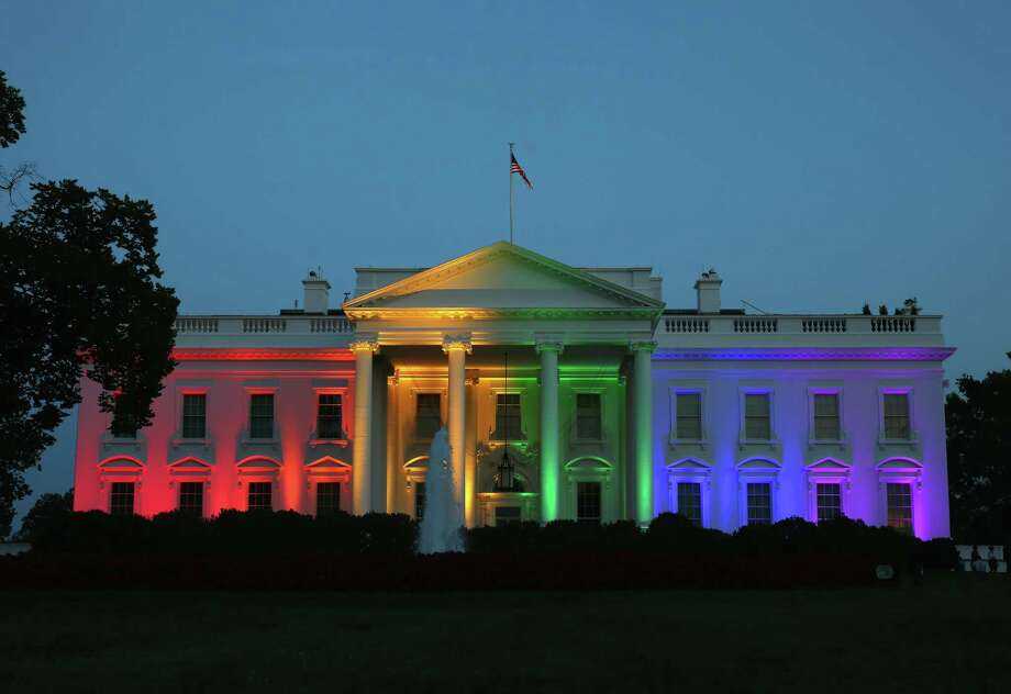 The White House was bathed in rainbow-colored lights in celebration of the recent preme Court ruling than bans on same-sex marriage are unconstitutional. One of our readers found the lighting offensive. Photo: Mark Wilson / / 2015 Getty Images