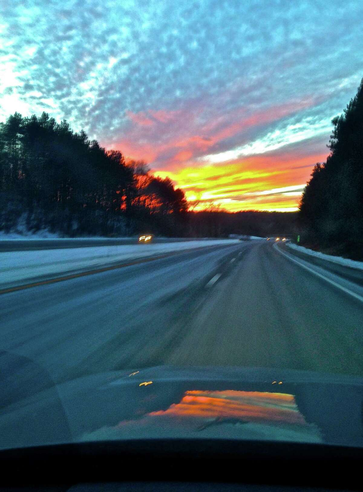 """""""Driving on the Merritt Parkway,"""" by Stamford resident Karen Kalkstein, is part of a new cell phone photography exhibit in Danbury. """"Mobile Pics CT 2015"""" is on view through Sept. 25 at the Gallery at Still River Editions."""