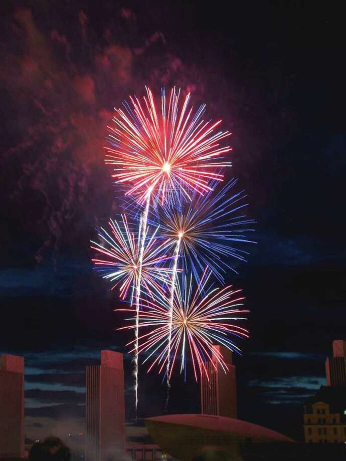 The view of the July 4 Empire State Plaza fireworks from the roof deck at Taste restauirant in Albany. (Photo by John Quinn/Taste)