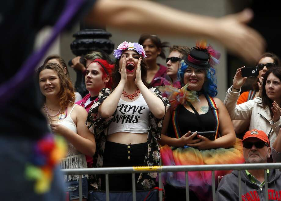 "Parade-goers cheer during the ""Equality Without Exception"" SF Pride Parade down Market Street in San Francisco, Calif., on Sunday, June 28, 2015. Photo: Scott Strazzante, The Chronicle"