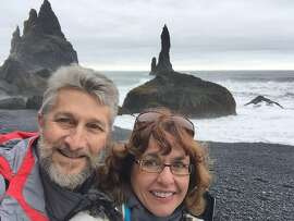Carol and Curt Mongelli-Richey, of Napa, at a black-sand beach on the coast of Iceland.~~