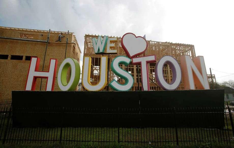 """David Adickes' """"We (heart) Houston"""" sculpture is seen Thursday, March 19, 2015, in Houston. ( Jon Shapley / Houston Chronicle ) Photo: Jon Shapley, Staff / © 2015 Houston Chronicle"""