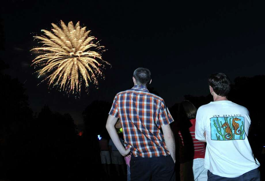 The Town of Greenwich fireworks display at Binney Park last year. This year's fireworks are slated for Friday. Photo: Bob Luckey / Bob Luckey / Greenwich Time