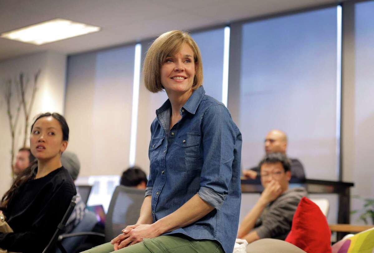 Ginny Martin listens to a lecture at Dev Bootcamp.