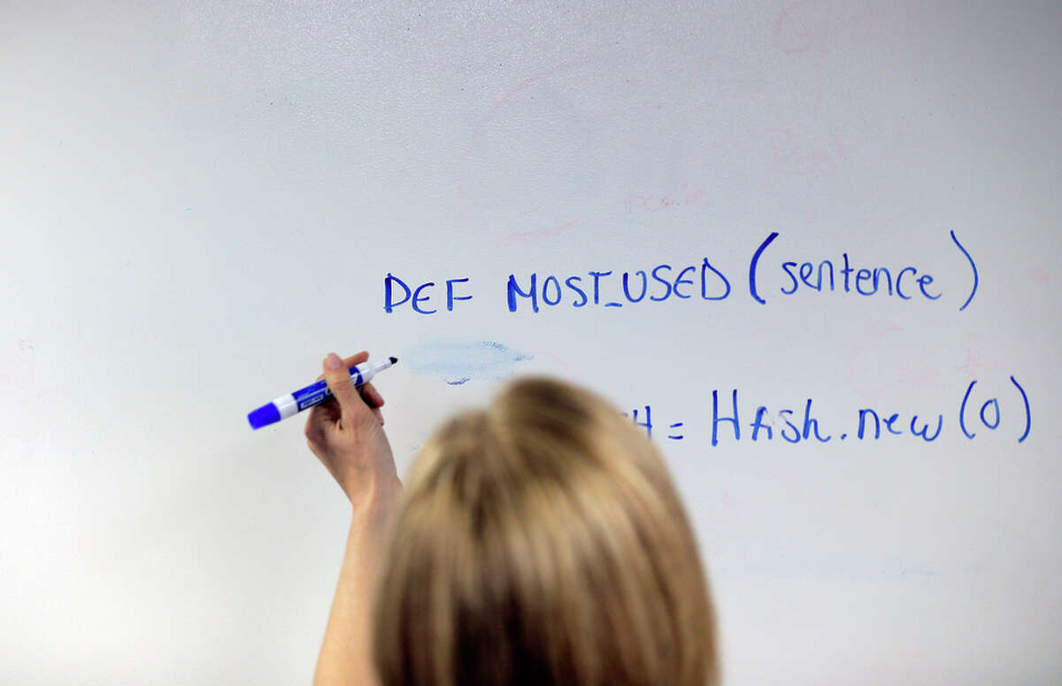Martin works out a coding solution on an erasable wall.