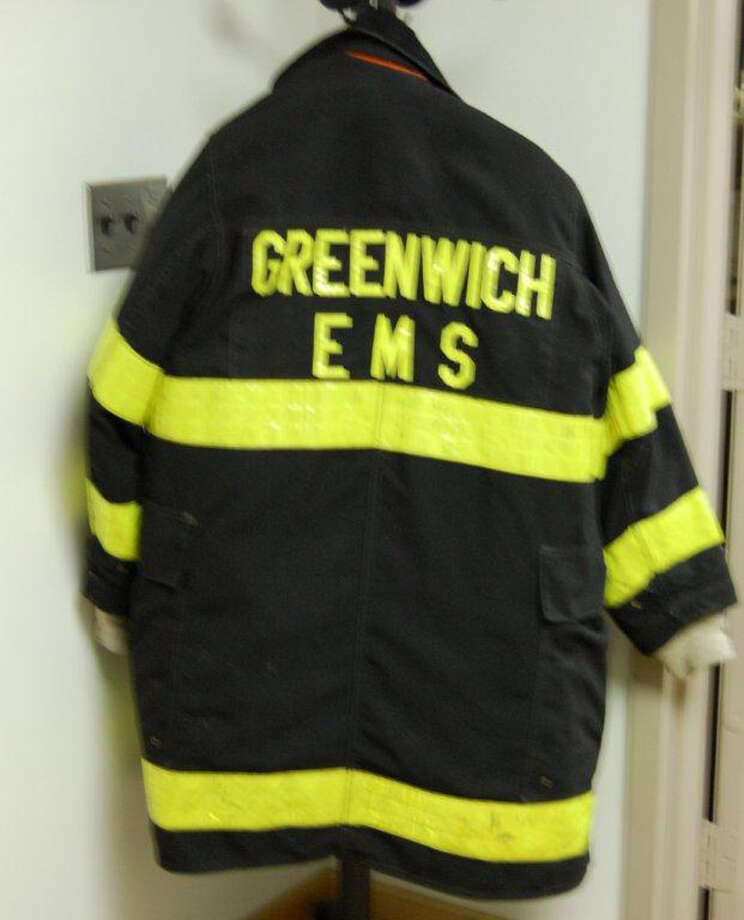 """Coats worn by GEMS and firefighters, a flak vest worn by the police, and shoes/boots from first responders will available for children to try on in the """"Can you Train to be a Hero"""" section of the Greenwich Historical Society's """"Everyday Heroes"""" exhibit. Photo: Contributed Photo / Contributed Photo / Greenwich Citizen"""