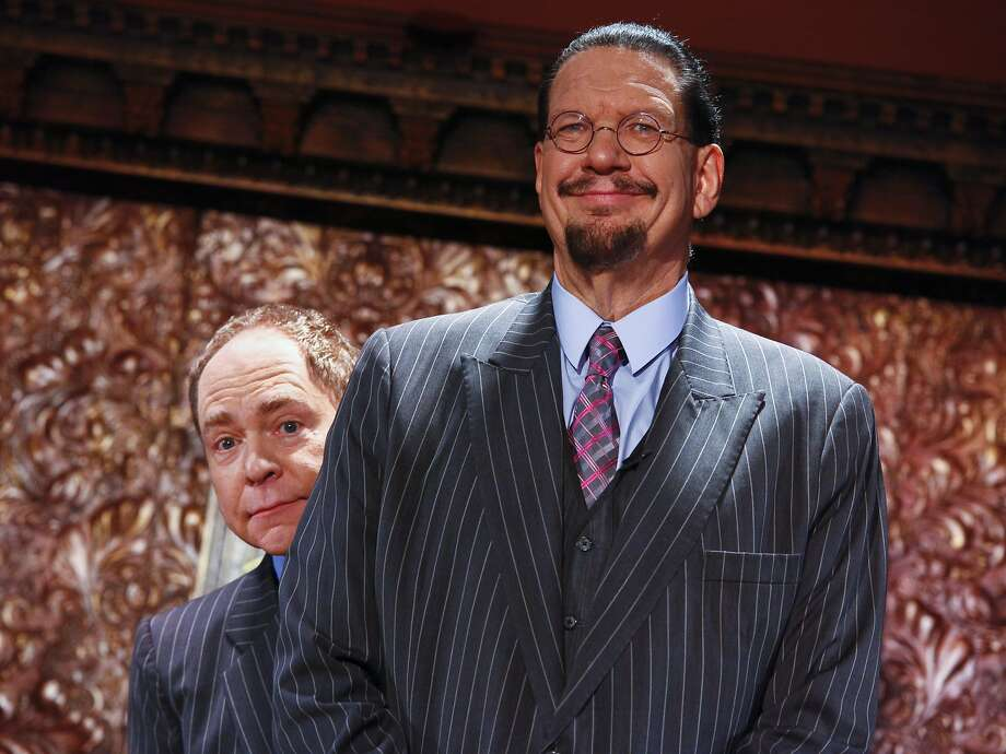"Teller, left, and Penn Jillette appear at the ""Penn & Teller On Broadway"" preview performance at 54 Below on Friday, June 26, 2015, in New York. (Photo by Andy Kropa/Invision/AP) Photo: Andy Kropa, Associated Press"
