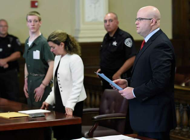 Rensselaer County District Attorney Joel Abelove, right, represents the people during the arraignment of David Stanley on murder charges Thursday morning, July 2, 2015, in Rensselaer County Court in Troy, N.Y.  (Skip Dickstein/Times Union) Photo: SKIP DICKSTEIN / 00032477A