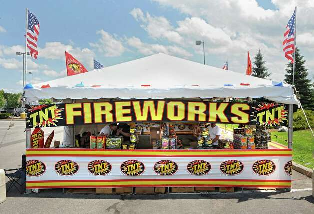 A TNT Fireworks tent is set up in the parking lot at Mohawk Commons on Thursday, July 2, 2015 in Niskayuna, N.Y. (Lori Van Buren / Times Union) Photo: Lori Van Buren / 00032452A