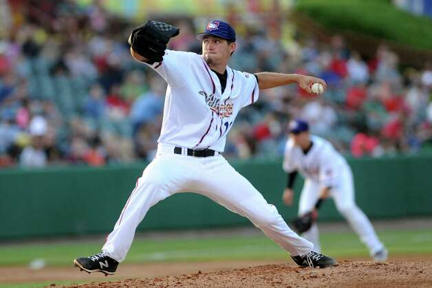 ValleyCats Austin Nicely winds up a pitch during their baseball game against the Lake Monsters on Thursday, July 2, 2015, at the Joe Bruno Stadium in Troy, N.Y. (Cindy Schultz / Times Union) Photo: Cindy Schultz / 00032414A