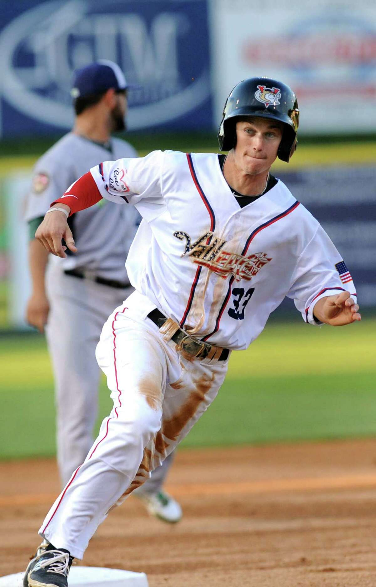 ValleyCats Johnny Sewald rounds third and heads for home during their baseball game against the Lake Monsters on Thursday, July 2, 2015, at the Joe Bruno Stadium in Troy, N.Y. (Cindy Schultz / Times Union)