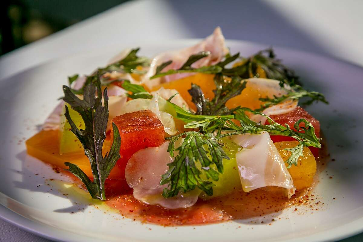 The Melon and Tuna Carpaccio at Evangeline in Calistoga, Calif., is seen on July 2nd, 2015.