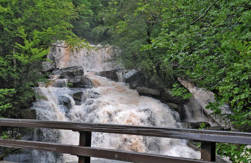 Water rushes over the Kaaterskill Falls in Haines Falls, N.Y. on Sept. 8, 2011. (Lori Van Buren / Ti