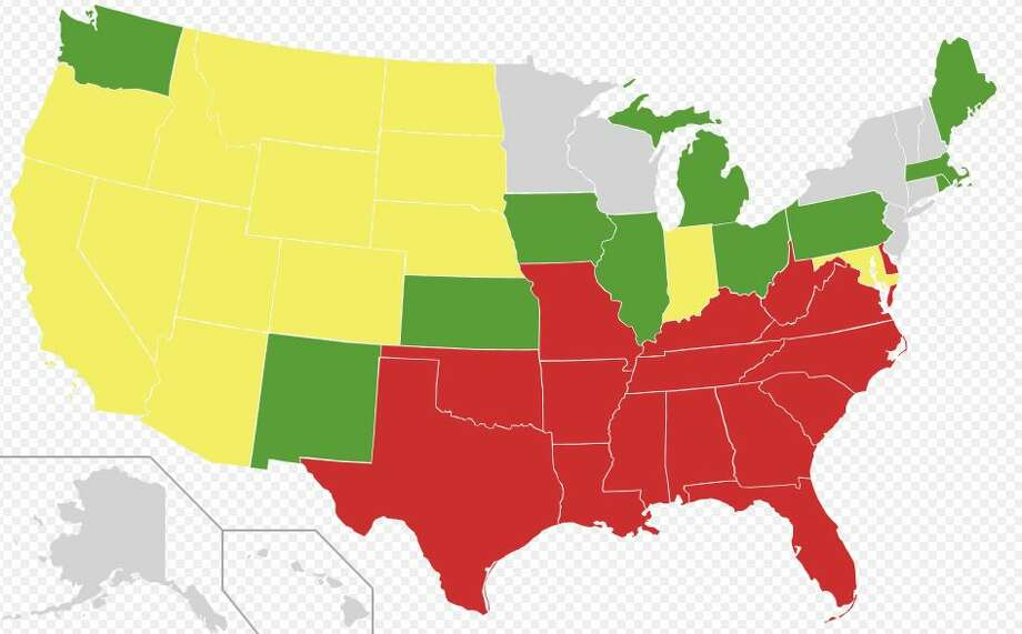 U.S. states, by the date of their repeal of anti-miscegenation laws.Gray = no law passed.Green = Before 1887.Yellow = 1948 to 1967.Red = June 12, 1967.Image by Certes - Vector map from Blank US Map.svg. Information from Anti-miscegenation_laws. Licensed under CC BY 3.0 via Wikimedia Commons.