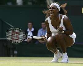 Serena Williams of the United States celebrates winning a point against Heather Watson of Britain, during their singles match at the All England Lawn Tennis Championships in Wimbledon, London, Friday July 3, 2015. (AP Photo/Kirsty Wigglesworth)
