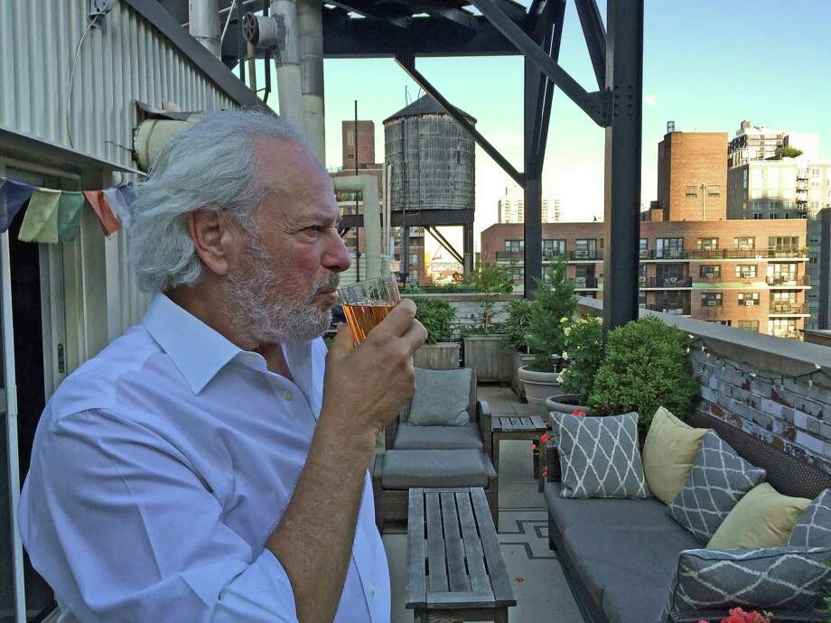 The artist Donald Lipski likes to end work days with a glass of scotch on his terrace in New York City. Photo: Jackson Hyland-Lipski