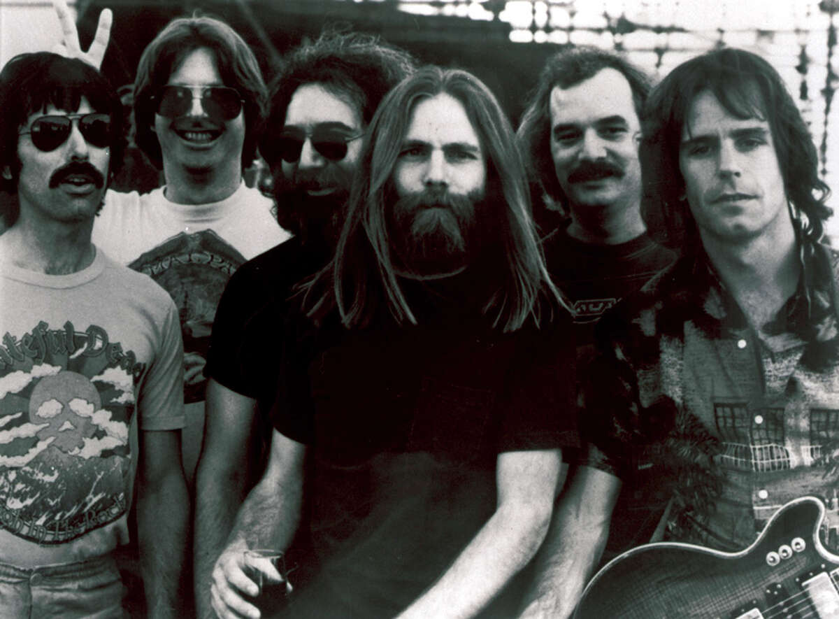 Grateful Dead band members, from left, Mickey Hart, Phil Lesh, Jerry Garcia, Brent Mydland, Bill Kreutzmann, and Bob Weir, shown before Garcia's deathin 1995. The remaining members are giving three final concerts in Chicago's Soldier Field that are being simulcast throughout the country.