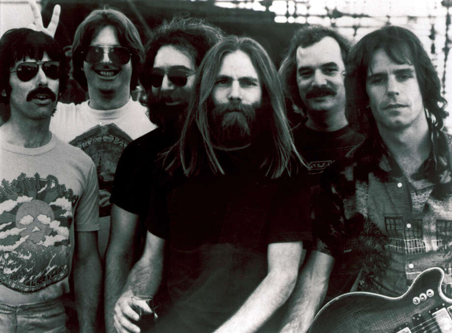 Grateful Dead band members, from left, Mickey Hart, Phil Lesh, Jerry Garcia, Brent Mydland, Bill Kreutzmann, and Bob Weir, shown before Garcia's deathin 1995. The remaining members are giving three final concerts in Chicago's Soldier Field that are being simulcast throughout the country. Photo: Anonymous / Associated Press / AP
