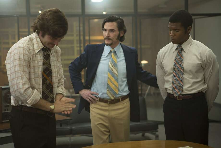 )      James Wolk (Mike Penny), Billy Crudup (Dr. Philip Zimbardo) and Gaius Charles (Paul Vogel) in Kyle Alvarez's THE STANFORD PRISON EXPERIMENT. Courtesy of Steve Dietl. Copyright STANFORD PRISON, LLC.  An IFC Films Release. Photo: IFC Films