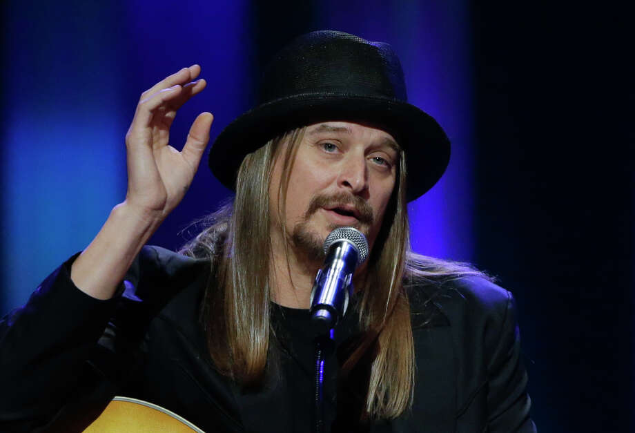 "FILE - This May 2, 2013, file photo shows Kid Rock speaking during the funeral for country music star George Jones at the Grand Ole Opry House in Nashville, Tenn. Kid Rock will perform a pre-race concert at the Daytona 500 in February. Daytona International Speedway said Friday, Dec. 19, 2014, he will play several hits as well as new single ""First Kiss."" (AP Photo/Mark Humphrey, Pool) ORG XMIT: NY157 Photo: Mark Humphrey / AP POOL"