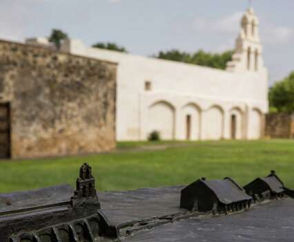 The National Park Service miniature diorama displaying the layout of Mission San Juan Capistrano stands on the grounds of Mission San Juan Capistrano in San Antonio, Texas. Ray Whitehouse / San Antonio Express-News Photo: Ray Whitehouse, Staff / San Antonio Express-News / 2015 San Antonio Express-News