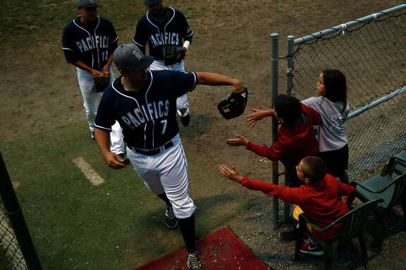 The Pacifics are a hands-on organization, something Vincent Muschi, Jordan Kaplan and Cassidy Kaplan learned while greeting Adrian Martinez (7), David Kiriakos (2) and Danny Gonzalez (12).