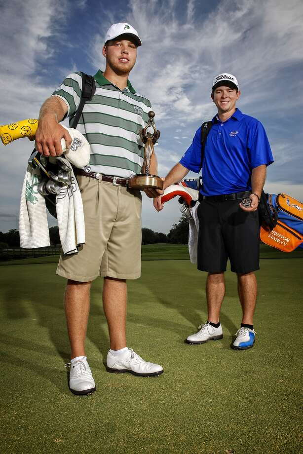 Micheal Cotton of the University of North Texas and Preston Stanley of HBU, both from Katy, during a photo shoot at Willowfork Country Club in Katy. Micheal and Preston took first and second place at the Texas Amateur Golf Championships in Dallas last week. Photo: Diana L. Porter, Freelance / © Diana L. Porter