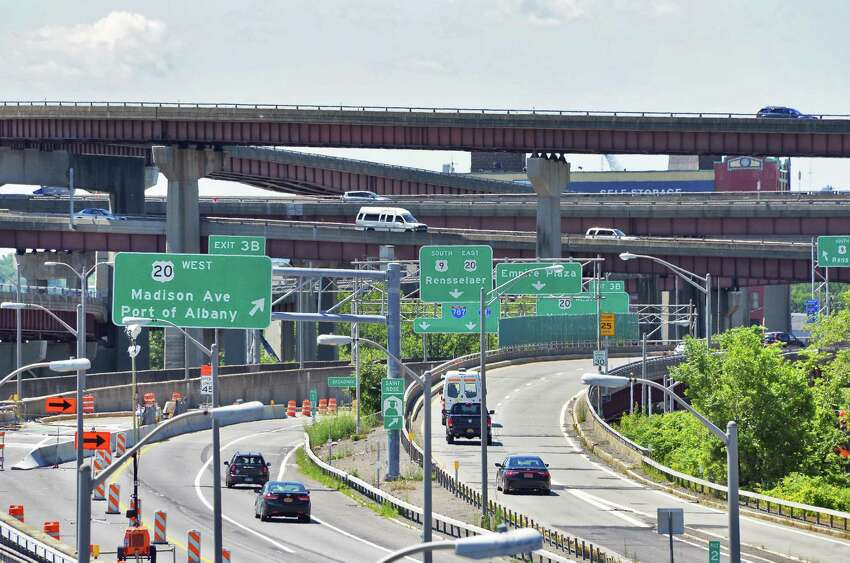 Interstate 787 as seen from the Riverfront Pedestrian Bridge Friday July 3, 2015 in Albany, NY. (John Carl D'Annibale / Times Union)