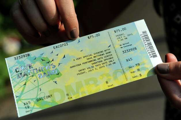 Ticket for balcony seating at the Dave Matthews Band show on Friday, July 3, 2015, at Saratoga Performing Arts Center in Saratoga Springs, N.Y. (Cindy Schultz / Times Union) Photo: Cindy Schultz / 00032321A