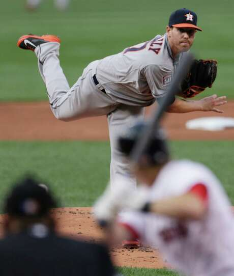 Astros righthander Dan Straily was unable to make it out of the fifth inning, and he ended up allowing five runs (four earned) in 42⁄3 innings against the Red Sox on Friday at Fenway Park. Photo: Charles Krupa, STF / AP