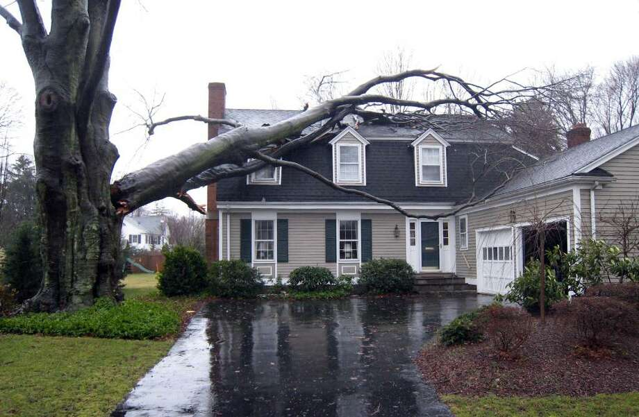 The Gagnon home at 51 Old Mill Road, in Fairfield, Conn. Sunday after a large section of tree fell in the hearvy winds Saturday. Photo: Contributed Photo / Connecticut Post Contributed