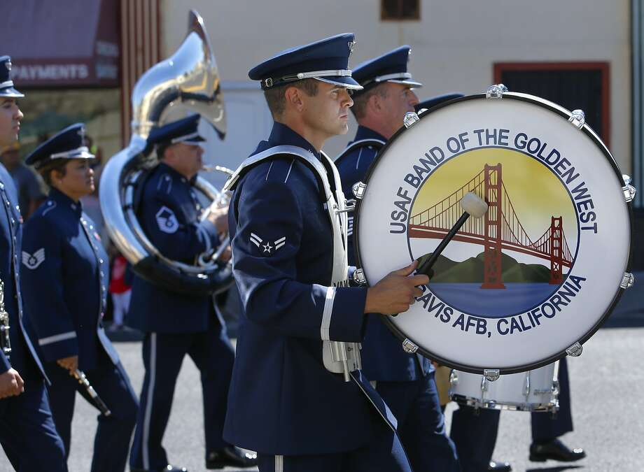 FILE – Members of the USAF Band of the Golden West out of Travis Air Force base, march down in Vallejo on Sat. July 4, 2015 in this file photo. Photo: Michael Macor