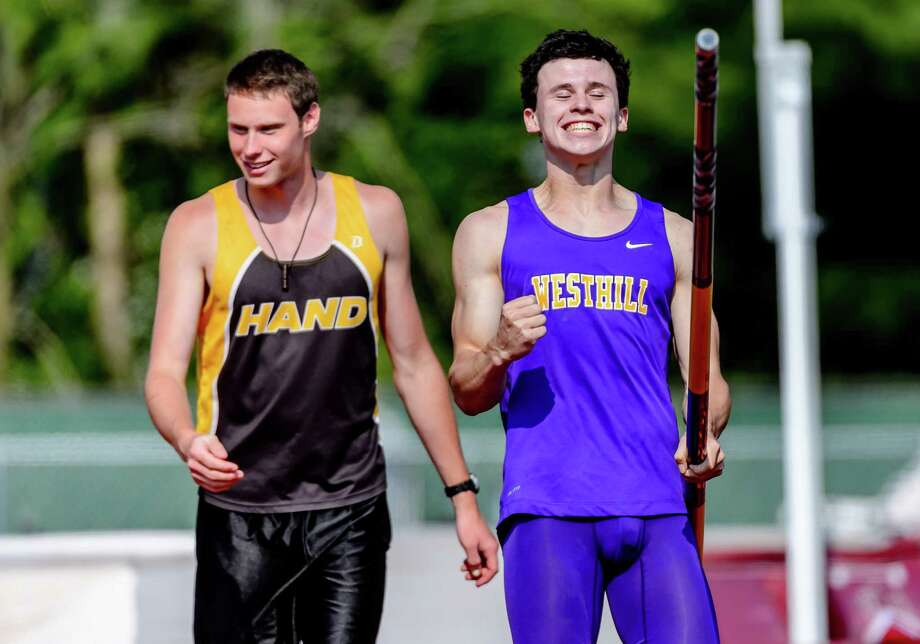 Westhill's Chris Roughcelebrates after clearing a personal best 15-feet, 6-icnhes at the State Open Track and Field Championships, on Monday June 6, 2015 at Willowbrook Park in New Britain. Photo: Bill Shettle / For Hearst Connecticut Media / Connecticut Post Freelance