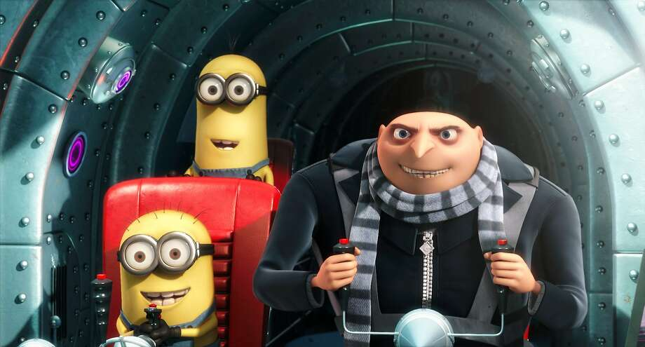 """FILE - In this film publicity file image released by Universal Pictures, Gru, voiced by Steve Carell, is shown with two of his minions in a scene from the 3-D CGI feature, """"Despicable Me"""", about a villain who meets his match in three little girls. """"Despicable Me"""" wasn't such a bad guy after all, it seems, opening at the top of the box office with an estimated $60.1 million.  The first 3-D animated movie from Universal Pictures stars Steve Carell as the voice of Gru, a bumbling villain with plans to steal the moon _ until three adorable orphan girls enter his life. Jason Segel, Russell Brand and Julie Andrews are among the star-studded voice cast. (AP Photo/Universal Pictures - Illumination Entertainment, File) NO SALES Photo: Illumination Entertainment, AP"""