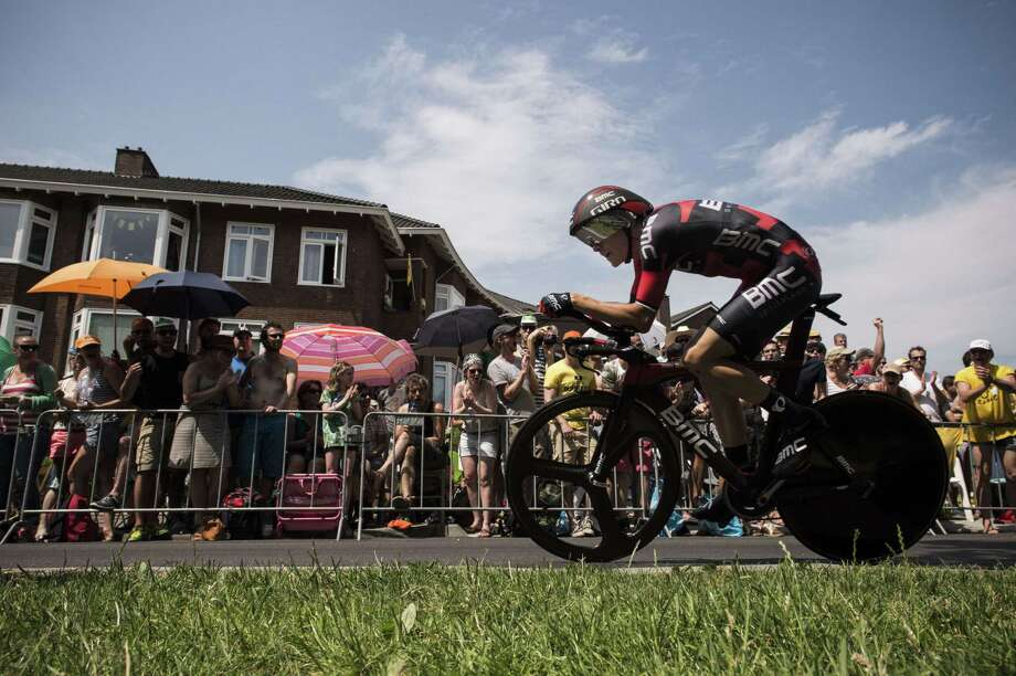 Australia's Rohan Dennis competes in the individual time trial, the first stage of the 102nd edition of the Tour de France, before a sun-splashed crowd Saturday in Utrecht, the Netherlands. Photo: JEFF PACHOUD, Staff / JEFF PACHOUD