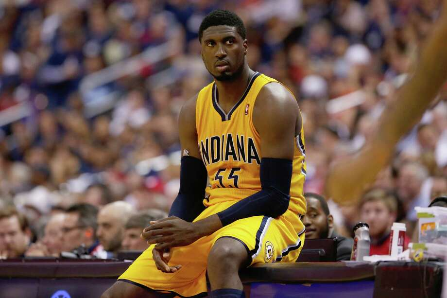 Indiana Pacers center Roy Hibbert (55) waits to the enter the game during the first half in Game 6 of an Eastern Conference semifinal NBA basketball playoff series against the Washington Wizards in Washington, Thursday, May 15, 2014. (AP Photo/Alex Brandon) Photo: Alex Brandon, STF / AP