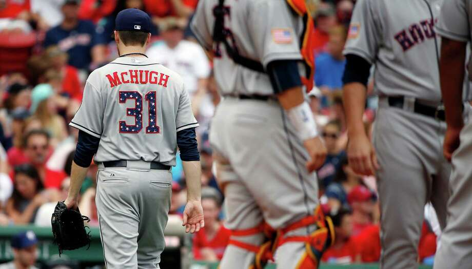 Houston Astros' Collin McHugh leaves the baseball game during the sixth inning against the Boston Red Sox in Boston, Saturday, July 4, 2015. (AP Photo/Michael Dwyer) Photo: Michael Dwyer, STF / AP