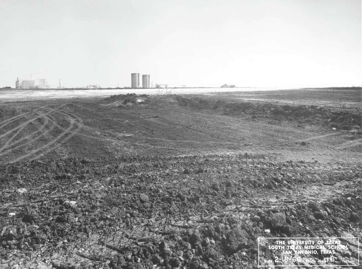 The former Joe J. Nix dairy farm in northwest San Antonio was marked by two lonely grain silos in February 1966, just one month before construction crews began building the South Texas Medical School there. Today the school is known as the University of Texas Health Science Center at San Antonio.