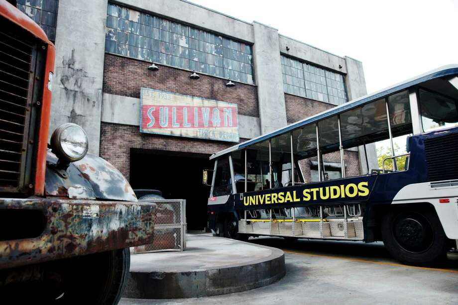 """A new tram enters the """"Fast & Furious — Supercharged"""" attraction during a test at Universal Studios Hollywood. With actual production largely done in other locations, Universal Studios Hollywood is turning to tours that re-create the action in hit movies. Photo: Emily Berl /New York Times / NYTNS"""