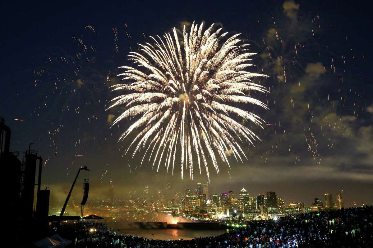 Fireworks explode during the Seafair Summer Fourth celebration at Gas Works Park on Saturday, July 4, 2015. Tens of thousands came out for the annual firework show on Lake Union.