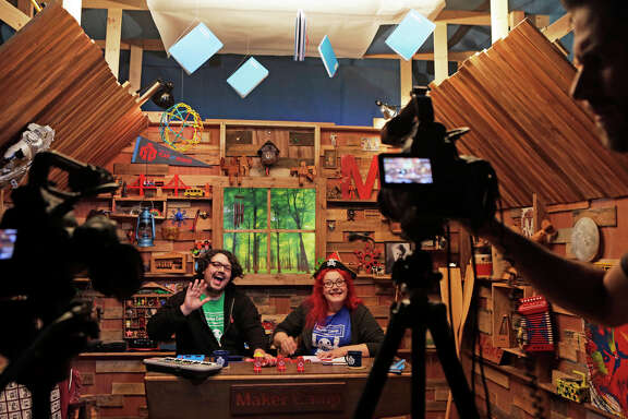 Hosts Jim Burke (left) and Paloma Fautley record on the set of Maker Camp at the Palace of Fine Arts. The summertime video series for children was created by the founders of Makers Faire and Make: magazine.