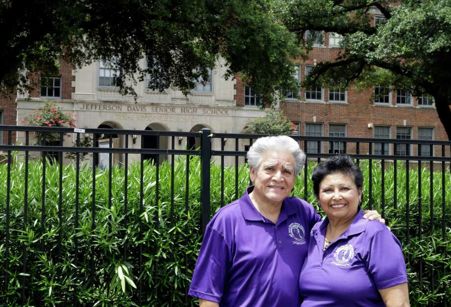 Jefferson Davis High School alumni John and Sylvia Zepeda, who met as students and later married, don't support changing the school's name. Photo: Melissa Phillip, Staff / © 2015  Houston Chronicle