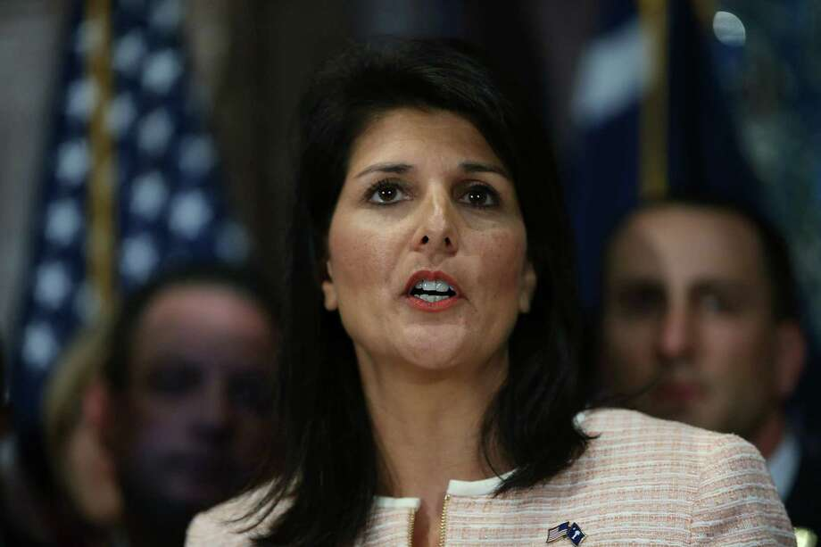 COLUMBIA, SC - JUNE 22:  South Carolina Gov. Nikki Haley speaks to the media as she asks that the Confederate flag be removed from the state capitol grounds on June 22, 2015 in Columbia, South Carolina. Debate over the flag flying on the capitol grounds was kicked off after nine people were shot and killed during a prayer meeting at the Emanuel African Methodist Episcopal Church in Charleston, South Carolina. (Photo by Joe Raedle/Getty Images) Photo: Joe Raedle, Staff / 2015 Getty Images