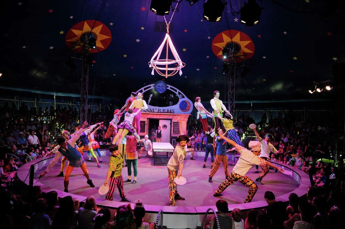 Members of the Circus Smirkus troupe perform during their 2015 Big Top Tour: Bon Appétit! show at the Saratoga Casino & Raceway grounds on Sunday, July 5, 2015, in Saratoga Springs, N.Y. The troupe will perform two shows on Monday, one at 1:00pm and one at 7:00pm. The performances benefit Saratoga Waldorf School. (Paul Buckowski / Times Union)