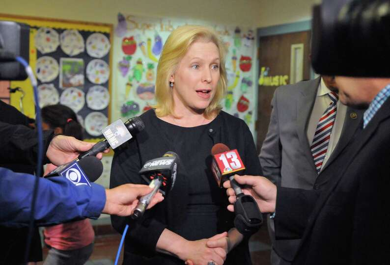 U.S. Senator Kirsten Gillibrand speaks about pushing to protect healthier food standards for schools