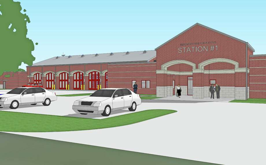 Architectural rendering of the to-be built Fire Station No. 1
