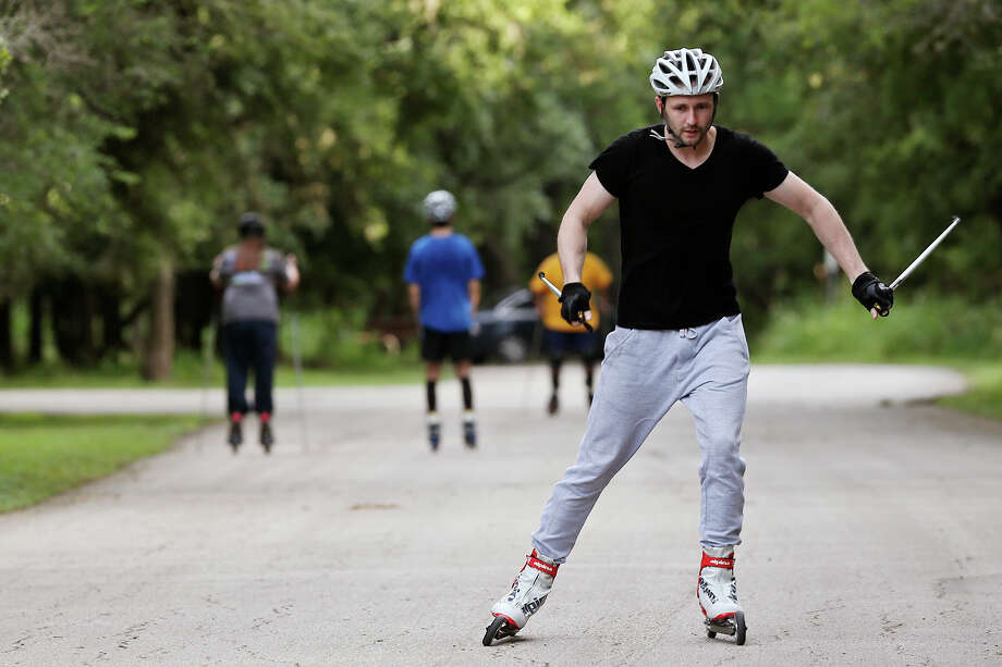 Roller Ski Texas Philipp Dmitriev, 32, warms up at McAllister Park, Wednesday, July 1, 2015. The group combines cross-country skiing with roller skis during their workouts. Photo: JERRY LARA, Staff / San Antonio Express-News / © 2015 San Antonio Express-News
