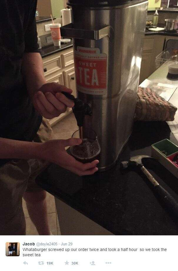 """""""Whataburger screwed up our order twice and took a half hour so we took the sweet tea,"""" Twitter user @doyle2405 posted. Photo: Mendoza, Madalyn S, Twitter.com"""