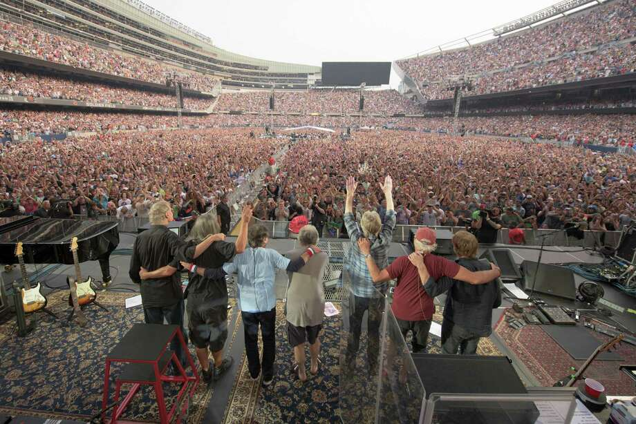 Bruce Hornsby, from left, Jeff Chimenti, Mickey Hart, Bob Weir, Phil Lesh, Bill Kreutzmann, Trey Anastasio of The Grateful Dead perform at Grateful Dead Fare Thee Well Show at Soldier Field on Sunday, July 5, 2015, in Chicago, Ill. (Photo by Jay Blakesberg/Invision for the Grateful Dead/AP Images) Photo: Jay Blakesberg, File / Getty  / Invision